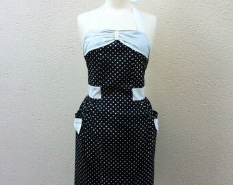 Retro Apron with bow, white polka dots on a black fabric. 1950's vintage inspired.