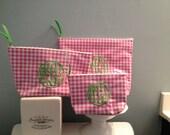 Monogrammed Toiletry Set/ Makeup Bag Set/ Cosmetic Cases/ Monogrammed Cosmetic Bag/ Monogrammed Makeup Bag/ Makeup Pouch/ Travel Set