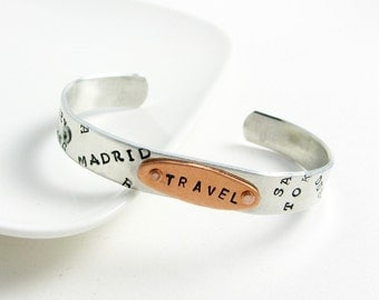 Voyage Jewelry (Travel Bracelet, Stamped Cuff for World Traveler with Wanderlust on Vacation)