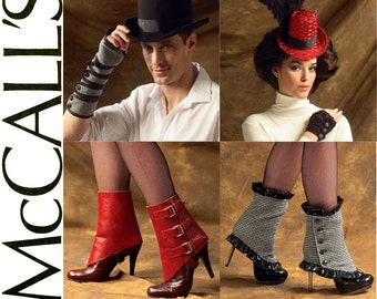 Steampunk Cosplay Pattern McCalls M6975 Uncut Costume Accessories Mini Top Hats Fingerless Gloves Spats Unisex Mens Womens Sewing Patterns
