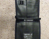 GET ORGANIZED NOW!!  Vintage Black Genuine Leather Purse- Shoulder Purse/Crossbody Organizer Purse-Black Purse-Vintage Handbag-Black Handbag
