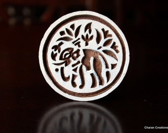HALF PRICE SALE Indian wood stamp, Blockprint Stamp, Pottery Stamp, Textile Stamp, Tjaps- Round Elephant Motif
