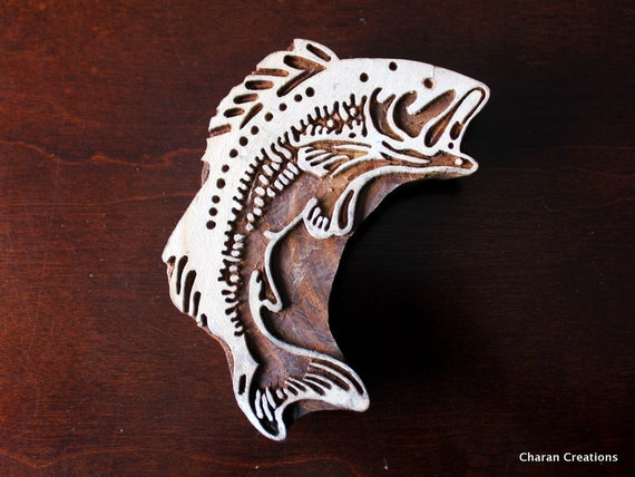 Hand Carved Indian Wood Stamp Block- Jumbo Fish (REDUCED)