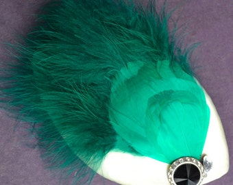 feather queen headpiece- teal
