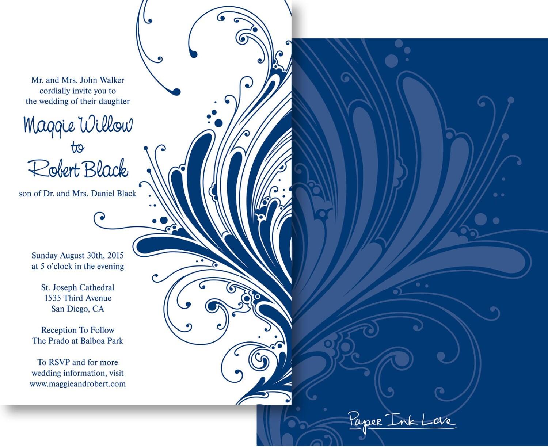 Blue Wedding Invitation Templates Free Yaseen for – Blue Wedding Invitation Cards