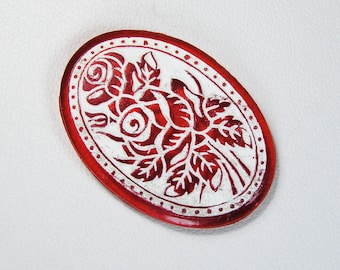 Czech Pressed Glass Cabochon Red Glass 36mms x 26mms (1) Vintage
