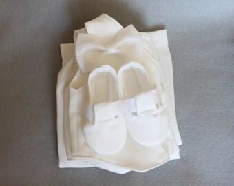 4 Piece White Infant Child Baby Vest Suit Cap Hat Pants Booties Shoes