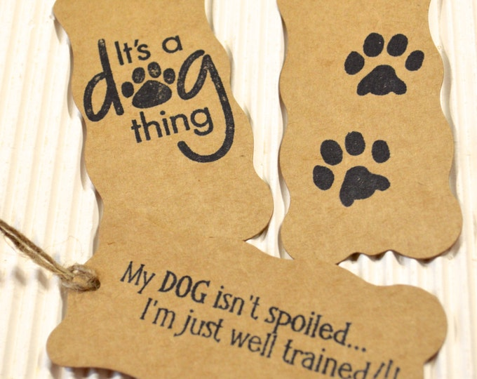 Dog Tags, Doggie Gift Tags, Kraft Paper, Hand Stamped, Pet Gifts, 3 Gift Tags