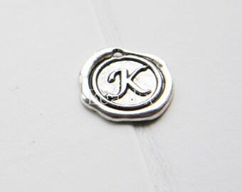 12pcs / Wax Seal Letter / Oxidized Silver Tone / Base Metal / Charm / Alphabet K (YA15706//E309)