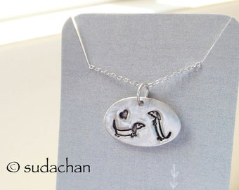 Silver Dachshund Necklace by Sudachan - Dachshunds with Heart Pendant