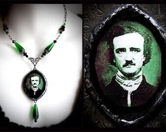 Edgar Allan Poe necklace, Victorian mourning jewelry, absinthe green, Halloween, gothic, horror, poet, macabre, vintage, Poe pendant