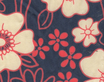 2 yards Floral Navy/Red Cotton Robert Kaufman Fabric
