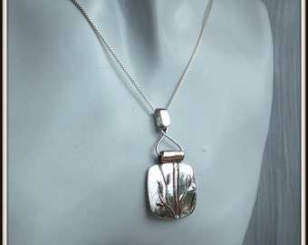Bamboo Art Jewelry OOAK Sterling silver  and Shibuichi Pendant handmade for woman