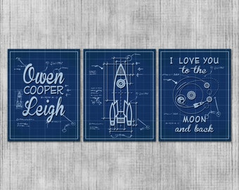 Space Nursery Wall Art, Rocket Ship Babys Room, Space Theme Kids Room, Moon Blueprints, Baby Boy, Printable Nursery Art, Rocket Blueprints