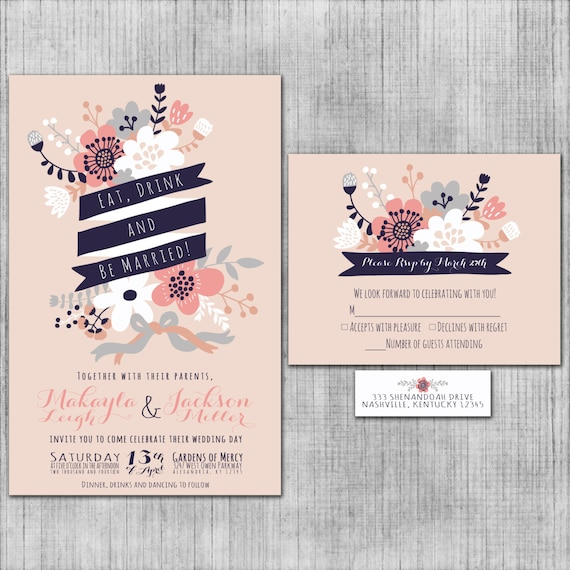 blush pink wedding invitations eat drink and be married, Wedding invitations