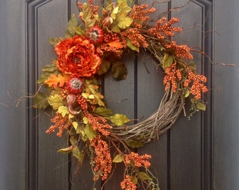 Fall Wreath Thanksgiving Wreath Halloween Orange Berry Branches Wispy Twig Grapevine Door Wreath Decor Indoor Outdoor Decoration