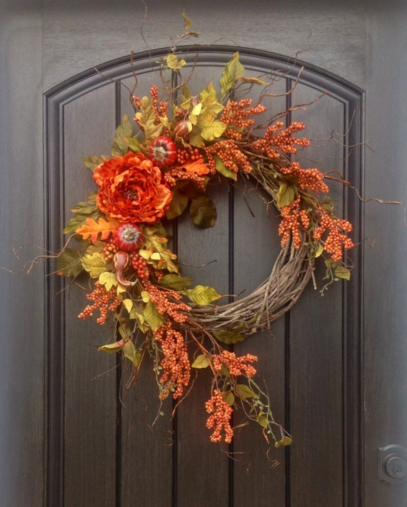 Fall Door Swags: Fall Wreath Thanksgiving Wreath Halloween Orange Berry