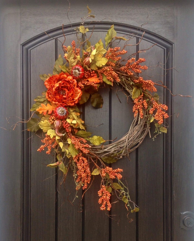 fall wreath thanksgiving wreath halloween orange berry