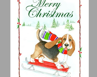 Basset Hound Christmas Cards, Box of 16 Cards and 16 White Envelopes
