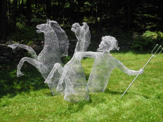 Items similar to posiedon rising outdoor chicken wire for Chicken wire sculptures uk