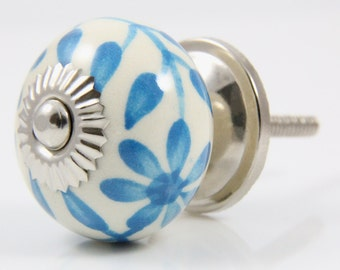 Turquoise winding flower knob 3.8cm BLU061