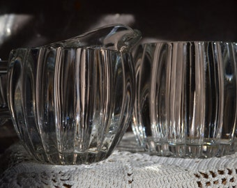 Jeanette Glass Crystal Creamer and Sugar