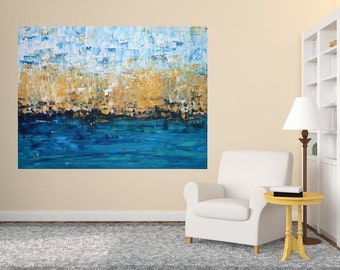 MADE TO ORDER: Large Room Art, Landscape Nautical Beach Ocean Sea Abstract Modern Colorful Art by MyImaginationIsYours