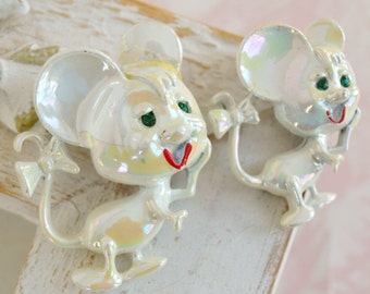 Vintage Iridescent Mouse Brooch Pair