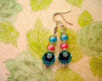 Pink Blue Bead Earrings, Bead Earrings, Blue Pink Summer Earrings