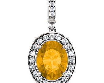 "Natural  10x8mm Oval Yellow Citrine Solid 14K White Gold Diamond pendant with 18"" Cable chain- ST97183"