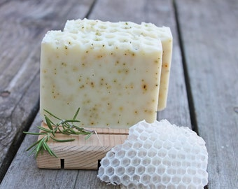 Rosemary Mint Cold Processed Soap,  made with organic oils and beeswax, organic shea butter