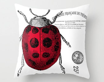 Throw Pillow Cover - Lady Bug on Vintage Ephemera - 16x16 - Pillow Case Design Home Décor by Adidit