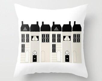 Throw Pillow Cover Kids Houses - Black White Cream - 16x16, 18x18, 20x20 - Nursery Bedroom Original Design Home Décor by Adidit