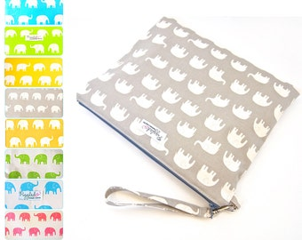 Choose Your Color: Ex-Large Zippered Wet Bag / Nappy Wallet / Diaper Case / with a Wristlet -  Elephants
