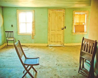 Rustic Shabby Room Original Photograph Green Yellow Brown
