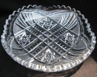 American Brilliant ABP Cut Crystal Nut Dish Candy Dish Clear Hand Cut Glass Shallow Bowl