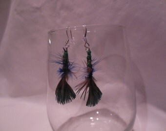 Feather Fly Tied Pair of Earrings, Feather, Earrings, Fly, Tied, Dangle