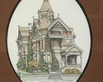 Vintage 1980's Victorian house art print framed, Debbie Patrick, pencil signed, 1984, San Francisco California, birthday gift for architect