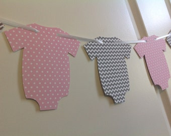 Gender Reveal pink and grey chevron Onesie banner with white polka dots Birthday Party Twins Baby shower Custom colors