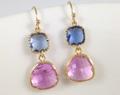 Blue Sapphire Earrings - Denim Blue Lavendar Violet Czech Glass Gold Earrings - Long Dangle Colorblock Boho Bridesmaids Gift Jewelry