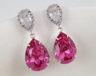 Rose Pink Earrings - Hot Pink Swarovski Crystal Teardrop Cubic Zirconia Bridal Earrings Sterling Silver Earposts Wedding Bridesmaids