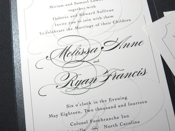 Traditional Elegant Wedding Invitations: Wedding Invitation Elegant Script Custom Pocketfold Invite