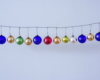 Set of 12 Mixed and Matched Christmas Glass Ornaments of Different Sizes
