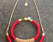 Red and Gold Knitted Silk Necklace