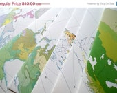 Holiday Sale Upcycled Vintage Atlas Envelopes with Sticker Seals A7 Map Envelopes