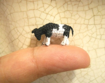 Miniature Cow - Micro Crochet Tiny Stuffed Animal - Made To Order