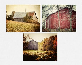 Rustic Print Set, Rustic Barn Prints or Canvas Art, Farmhouse Chic, 3 Prints, Country Decor Country Farmhouse Decor, Red Gold Rust Autumn.