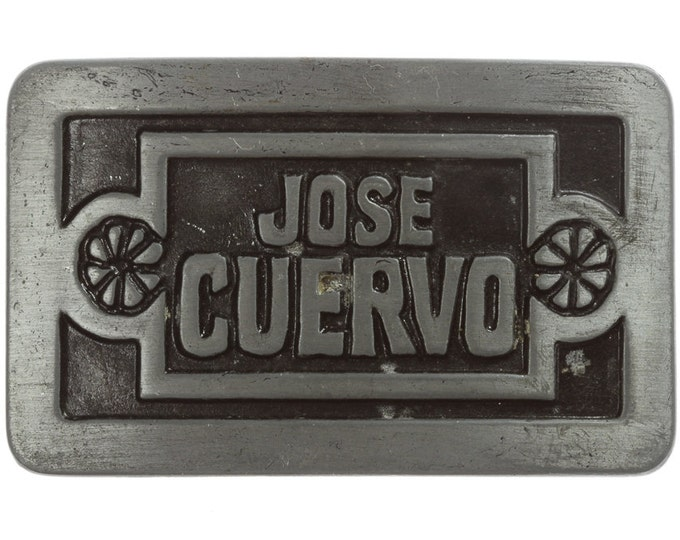 Jose Cuervo Belt Buckle Grey | Tequila Drinking Vintage Belt Buckle for Leather Belt | 1977 Liquor USA Mexican BB13