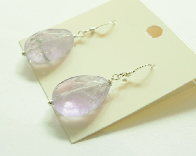 Lavender amethyst faceted drop sterling silver earrings