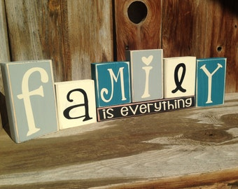 Family Is Everything home Vinyl Lettering Wood Blocks home decor seasonal primitive shelf